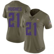 Wholesale Cheap Nike Vikings #21 Mike Hughes Olive Women's Stitched NFL Limited 2017 Salute to Service Jersey