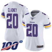 Wholesale Cheap Nike Vikings #20 Jeff Gladney White Women's Stitched NFL 100th Season Vapor Untouchable Limited Jersey