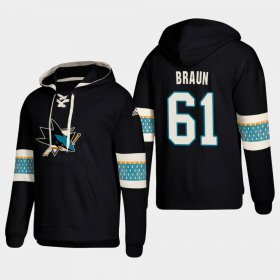 Wholesale Cheap San Jose Sharks #61 Justin Braun Black adidas Lace-Up Pullover Hoodie