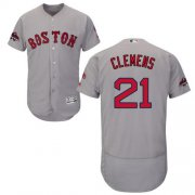 Wholesale Cheap Red Sox #21 Roger Clemens Grey Flexbase Authentic Collection 2018 World Series Champions Stitched MLB Jersey