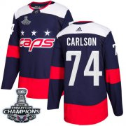 Wholesale Cheap Adidas Capitals #74 John Carlson Navy Authentic 2018 Stadium Series Stanley Cup Final Champions Stitched NHL Jersey
