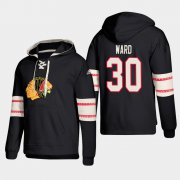 Wholesale Cheap Chicago Blackhawks #30 Cam Ward Black adidas Lace-Up Pullover Hoodie