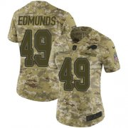 Wholesale Cheap Nike Bills #49 Tremaine Edmunds Camo Women's Stitched NFL Limited 2018 Salute to Service Jersey