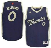 Wholesale Cheap Men's Oklahoma City Thunder #0 Russell Westbrook Revolution 30 Swingman 2015 Christmas Day Blue Jersey