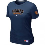 Wholesale Cheap Women's San Francisco Giants Nike Short Sleeve Practice MLB T-Shirt Midnight Blue
