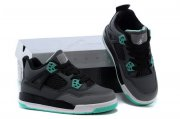 Wholesale Cheap Air Jordan 4 (IV) Kids Shoes black/gray-green