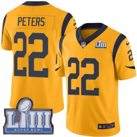 Wholesale Cheap Nike Rams #22 Marcus Peters Gold Super Bowl LIII Bound Men\'s Stitched NFL Limited Rush Jersey