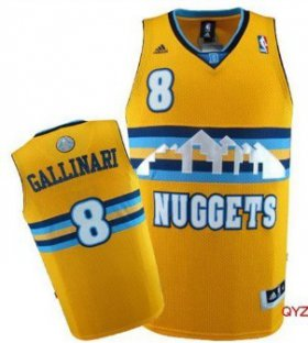 Wholesale Cheap Denver Nuggets #8 Danilo Gallinari Yellow Swingman Jersey