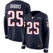 Wholesale Cheap Nike Patriots #25 Terrence Brooks Navy Blue Team Color Women's Stitched NFL Limited Therma Long Sleeve Jersey