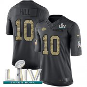Wholesale Cheap Nike Chiefs #10 Tyreek Hill Black Super Bowl LIV 2020 Men's Stitched NFL Limited 2016 Salute to Service Jersey