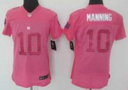 Wholesale Cheap Nike Giants #10 Eli Manning Pink Sweetheart Women's Stitched NFL Elite Jersey