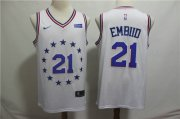 Wholesale Cheap Men's Philadelphia 76ers 21 Joel Embiid Nike White 2018-19 Swingman Earned Edition Jersey