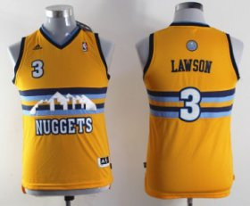 Cheap Denver Nuggets #3 Ty Lawson Yellow Kids Jersey
