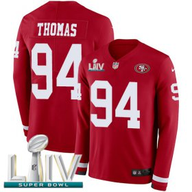 Wholesale Cheap Nike 49ers #94 Solomon Thomas Red Super Bowl LIV 2020 Team Color Men\'s Stitched NFL Limited Therma Long Sleeve Jersey
