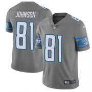 Wholesale Cheap Nike Lions #81 Calvin Johnson Gray Men's Stitched NFL Limited Rush Jersey