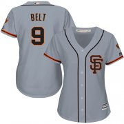Wholesale Cheap Giants #9 Brandon Belt Grey Road 2 Women's Stitched MLB Jersey