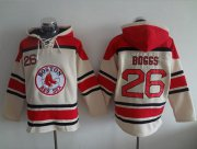 Wholesale Cheap Red Sox #26 Wade Boggs Cream Sawyer Hooded Sweatshirt MLB Hoodie