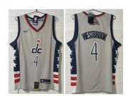 Wholesale Cheap Men's Washington Wizards #4 Russell Westbrook NEW Grey 2021 City Edition NBA Swingman Jersey