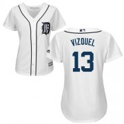 Wholesale Cheap Tigers #13 Omar Vizquel White Home Women's Stitched MLB Jersey