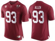 Wholesale Cheap Men's Alabama Crimson Tide #93 Jonathan Allen Red 2017 Championship Game Patch Stitched CFP Nike Limited Jersey