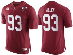Wholesale Cheap Men\'s Alabama Crimson Tide #93 Jonathan Allen Red 2017 Championship Game Patch Stitched CFP Nike Limited Jersey