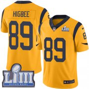 Wholesale Cheap Nike Rams #89 Tyler Higbee Gold Super Bowl LIII Bound Men's Stitched NFL Limited Rush Jersey