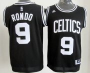 Wholesale Cheap Boston Celtics #9 Rajon Rondo Black With White Authentic Jersey