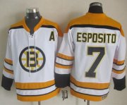 Wholesale Cheap Bruins #7 Phil Esposito White CCM Throwback Stitched NHL Jersey