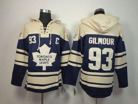 Wholesale Cheap Maple Leafs #93 Doug Gilmour Blue Sawyer Hooded Sweatshirt Stitched NHL Jersey