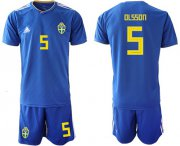 Wholesale Cheap Sweden #5 Olsson Away Soccer Country Jersey