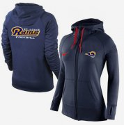 Wholesale Cheap Women's Nike Los Angeles Rams Full-Zip Performance Hoodie Dark Blue