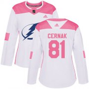 Cheap Adidas Lightning #81 Erik Cernak White/Pink Authentic Fashion Women's Stitched NHL Jersey