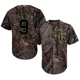 Wholesale Cheap Rockies #9 Daniel Murphy Camo Realtree Collection Cool Base Stitched Youth MLB Jersey
