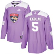 Wholesale Cheap Adidas Panthers #5 Aaron Ekblad Purple Authentic Fights Cancer Stitched Youth NHL Jersey