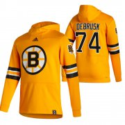 Wholesale Cheap Boston Bruins #74 Jake Debrusk Adidas Reverse Retro Pullover Hoodie Gold