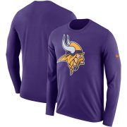 Wholesale Cheap Minnesota Vikings Nike Fan Gear Primary Logo Performance Long Sleeve T-Shirt Purple
