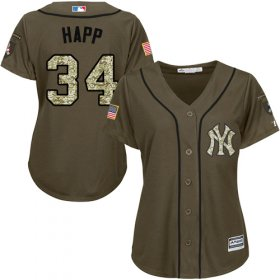 Wholesale Cheap Yankees #34 J.A. Happ Green Salute to Service Women\'s Stitched MLB Jersey