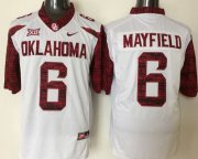 Wholesale Cheap Men's Oklahoma Sooners #6 Baker Mayfield White 2016 College Football Nike Jersey