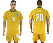 Wholesale Cheap Cote d'lvoire #20 Serey Home Soccer Country Jersey