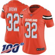 Wholesale Cheap Nike Browns #32 Jim Brown Orange Alternate Women's Stitched NFL 100th Season Vapor Limited Jersey