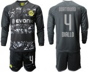 Wholesale Cheap Dortmund #4 Diallo Away Long Sleeves Soccer Club Jersey