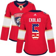 Wholesale Cheap Adidas Panthers #5 Aaron Ekblad Red Home Authentic USA Flag Women's Stitched NHL Jersey