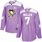 Wholesale Cheap Adidas Penguins #7 Joe Mullen Purple Authentic Fights Cancer Stitched NHL Jersey