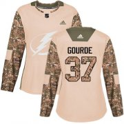 Cheap Adidas Lightning #37 Yanni Gourde Camo Authentic 2017 Veterans Day Women's Stitched NHL Jersey