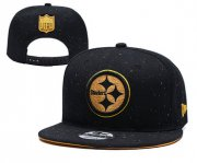 Wholesale Cheap Steelers Team Gold Logo Black Adjustable Hat YD