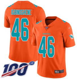 Wholesale Cheap Nike Dolphins #46 Noah Igbinoghene Orange Youth Stitched NFL Limited Inverted Legend 100th Season Jersey