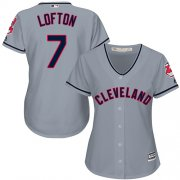 Wholesale Cheap Indians #7 Kenny Lofton Grey Road Women's Stitched MLB Jersey
