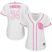 Wholesale Cheap Padres #34 Rollie Fingers White/Pink Fashion Women's Stitched MLB Jersey