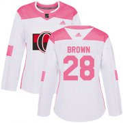 Wholesale Cheap Adidas Senators #28 Connor Brown White/Pink Authentic Fashion Women's Stitched NHL Jersey