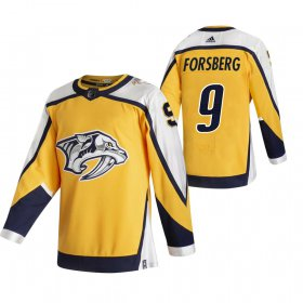 Wholesale Cheap Nashville Predators #9 Filip Forsberg Yellow Men\'s Adidas 2020-21 Reverse Retro Alternate NHL Jersey
